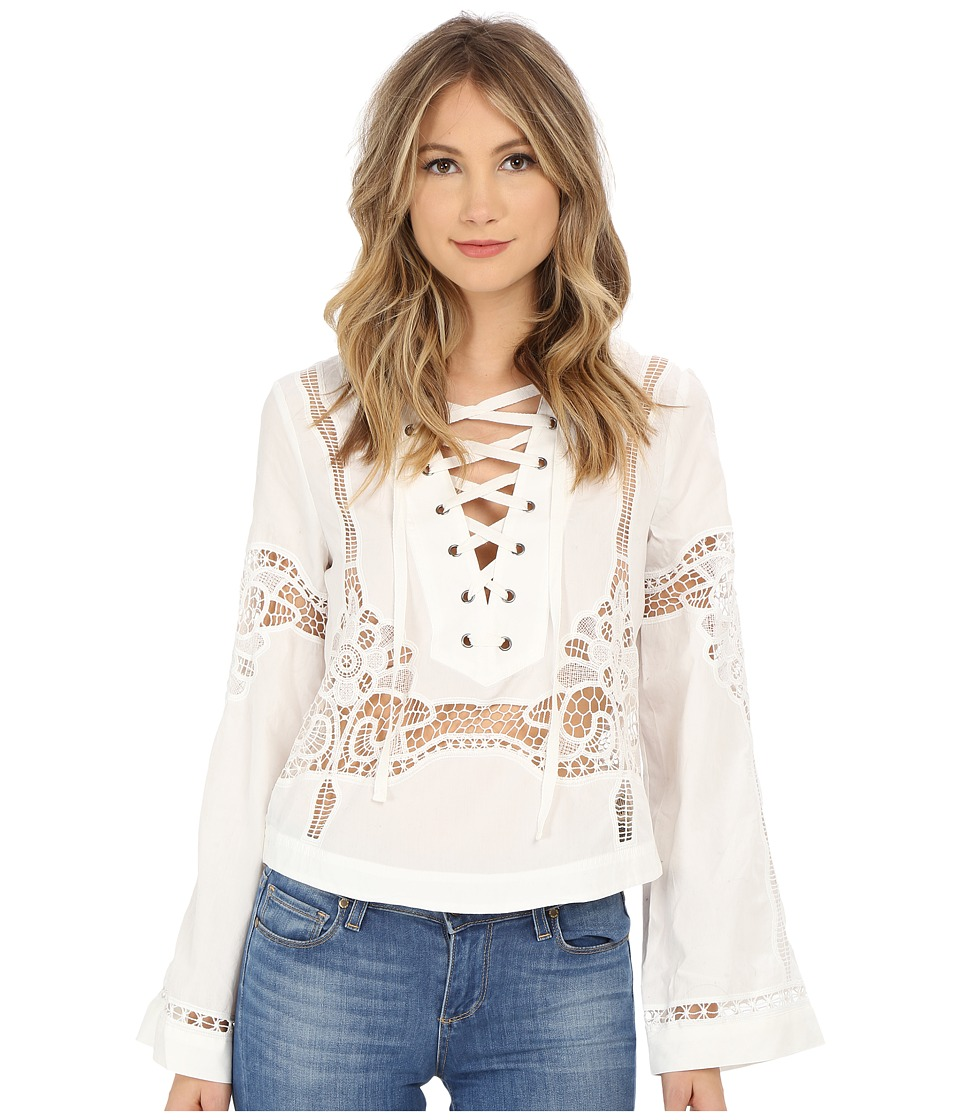 Free People - Bittersweet Lace-Up Top (White) Women's Blouse