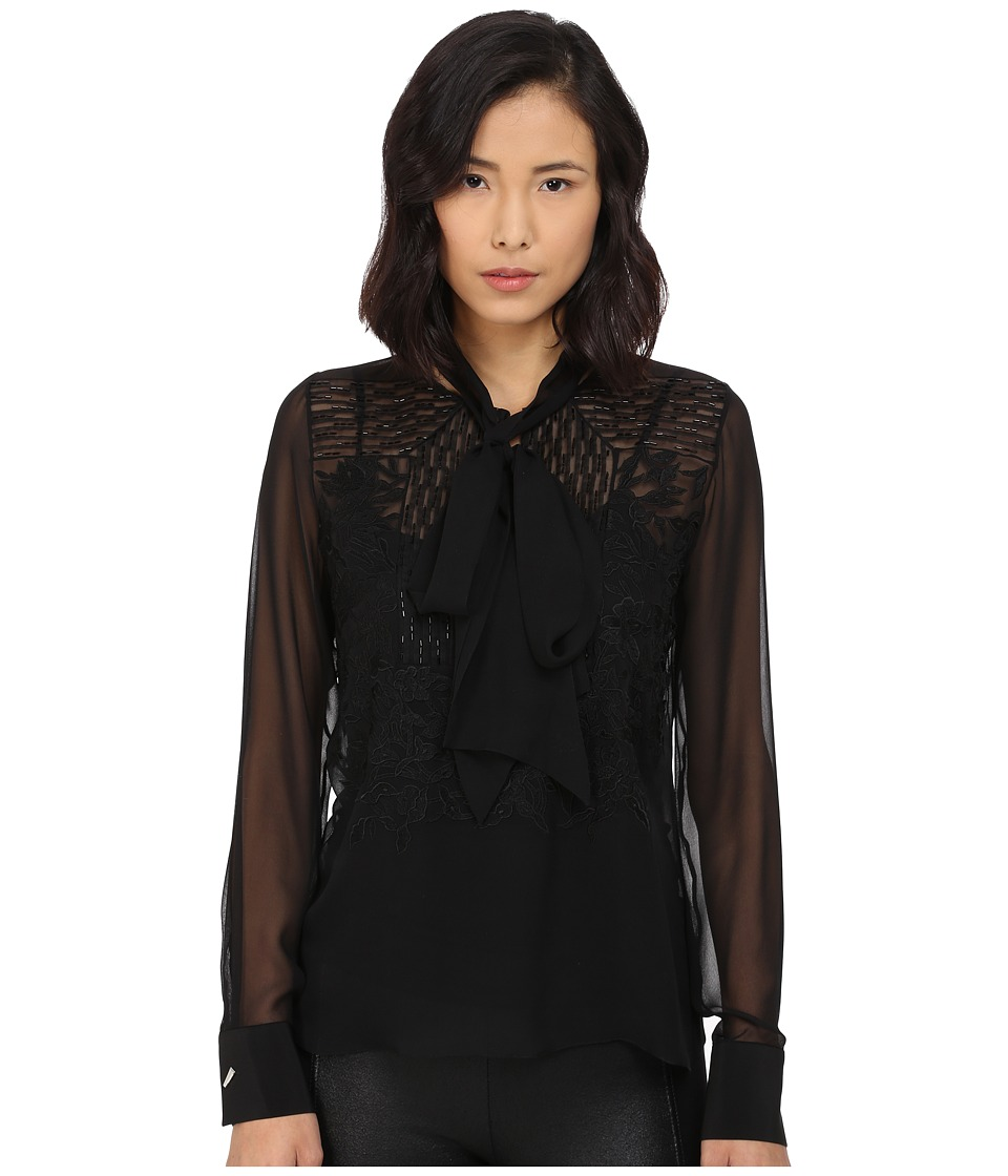 Prabal Gurung - Embroidered Sheet Long Sleeve Top (Black) Women's Blouse