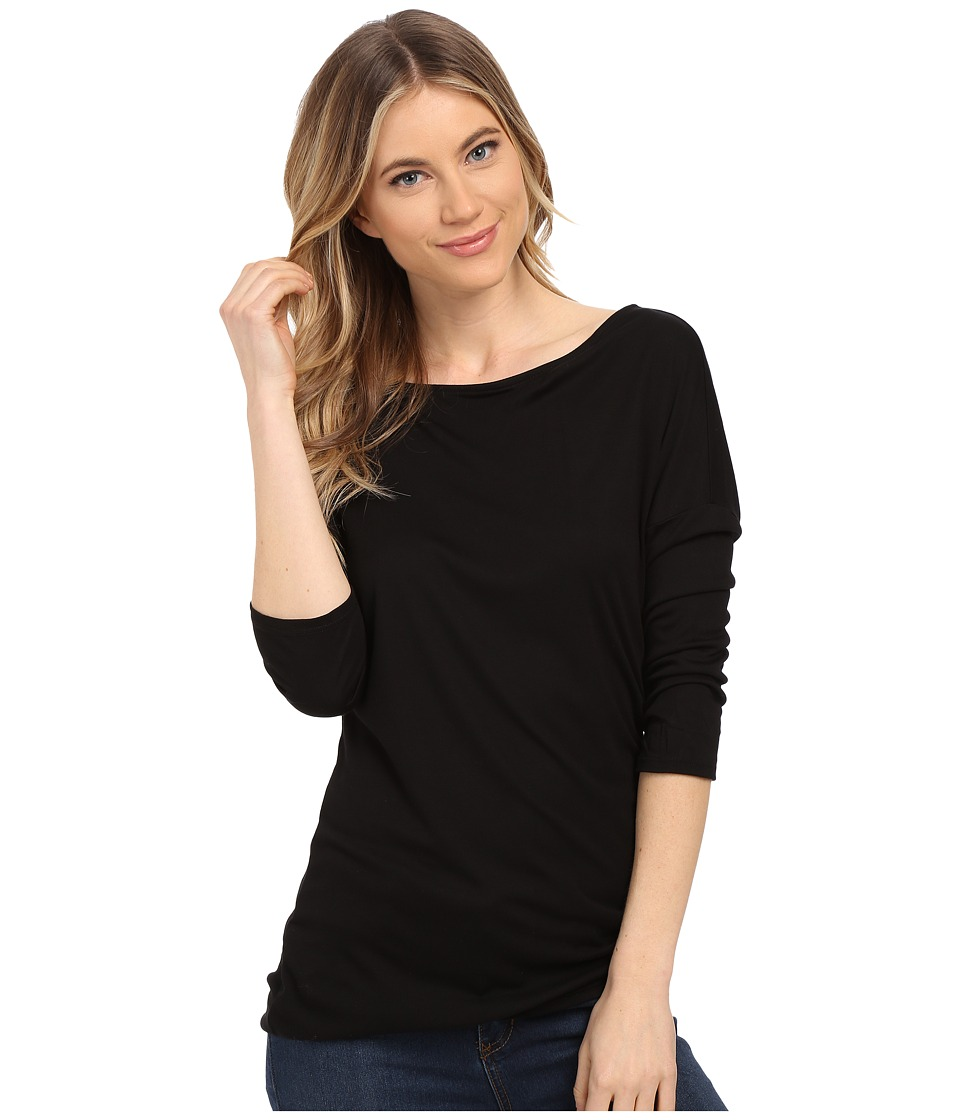 Three Dots - Kylie Long Sleeve Tunic (Black) Women's Blouse
