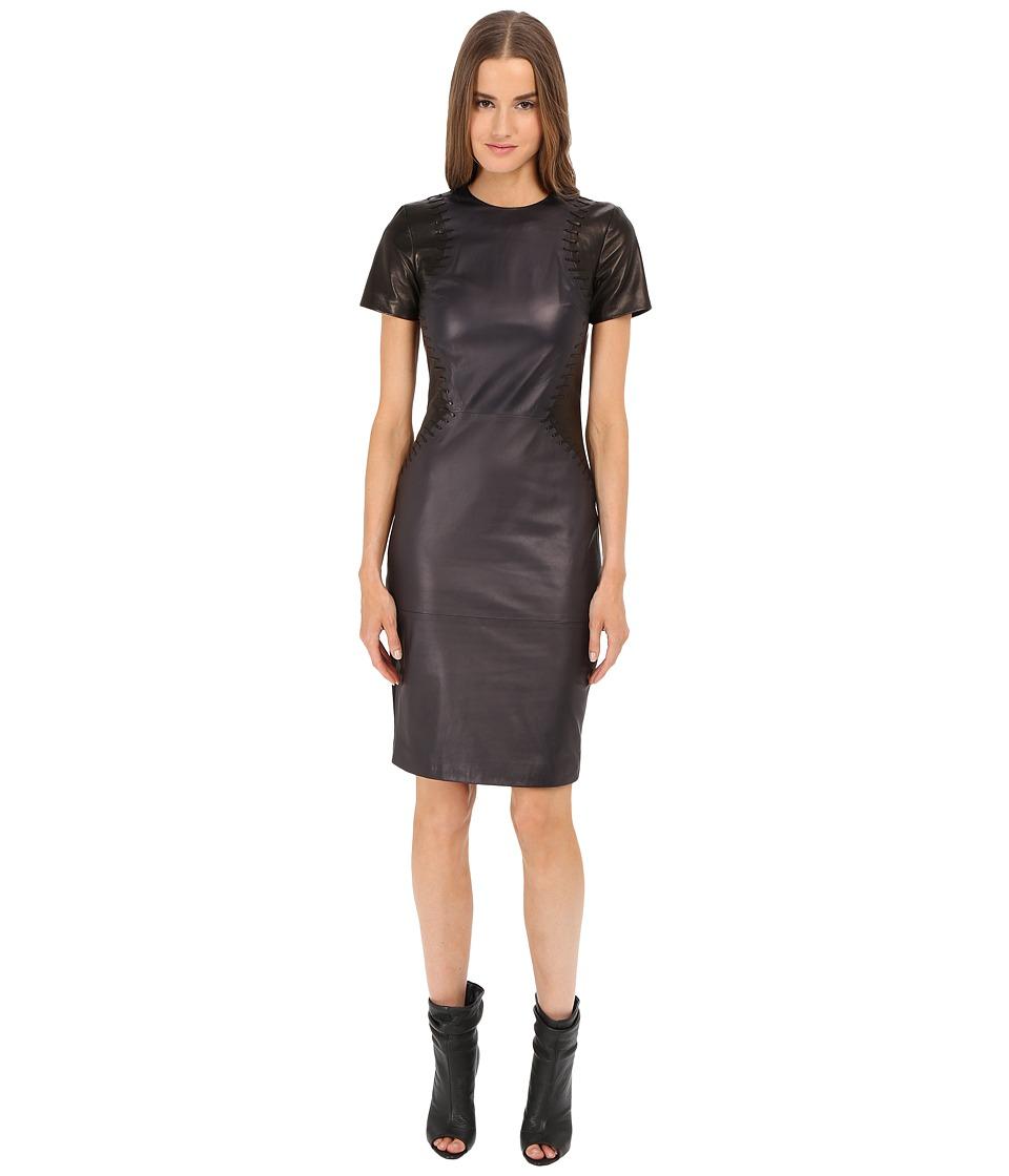 Prabal Gurung Leather Short Sleeve Dress (Navy/Black) Women