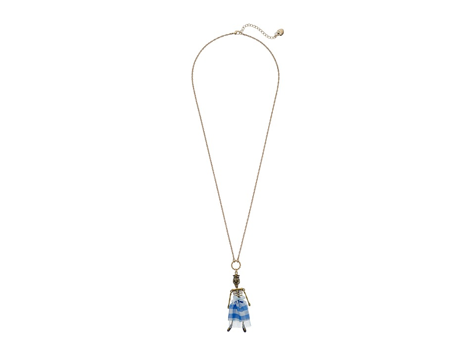 Betsey Johnson - Skulls and Roses Skeleton Pendant Necklace (Blue Multi) Necklace