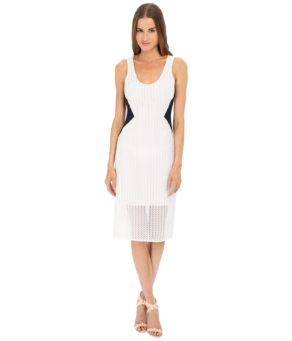 Prabal Gurung - Lace Tank Dress w/ Sheer Overlay (Navy/White) Women's Dress