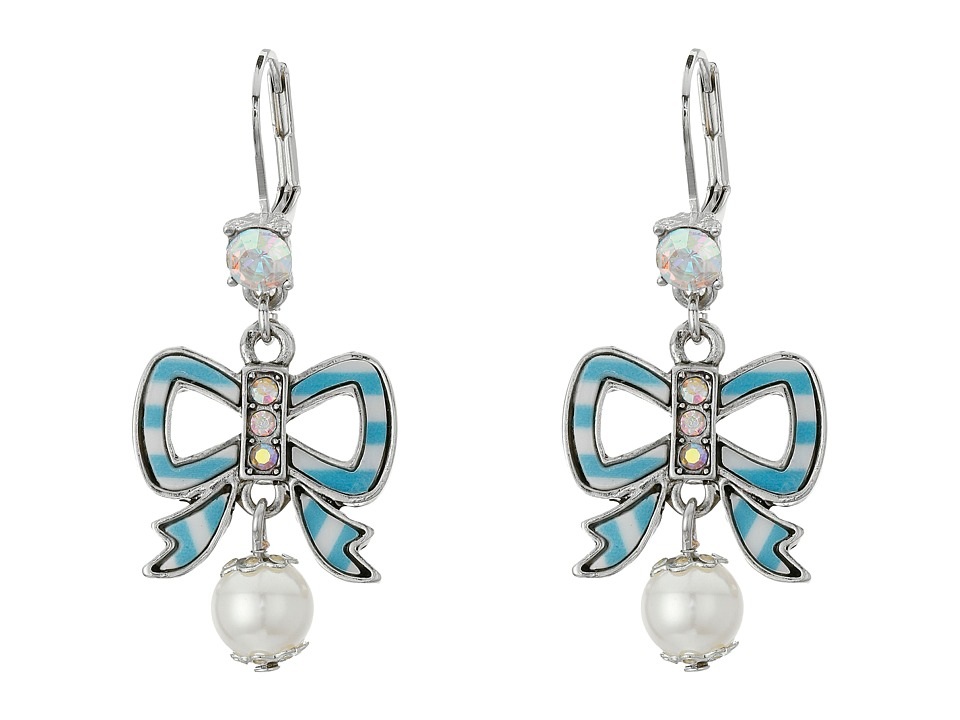 Betsey Johnson - Anchors Away Striped Bow Drop Earrings (Pink/Blue) Earring