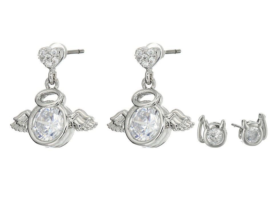Betsey Johnson - Mini CZ's Devil Angel Duo Stud Earrings (Crystal) Earring