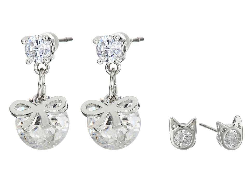 Betsey Johnson - Mini CZ's Cat Bow Duo Stud Earrings (Crystal) Earring
