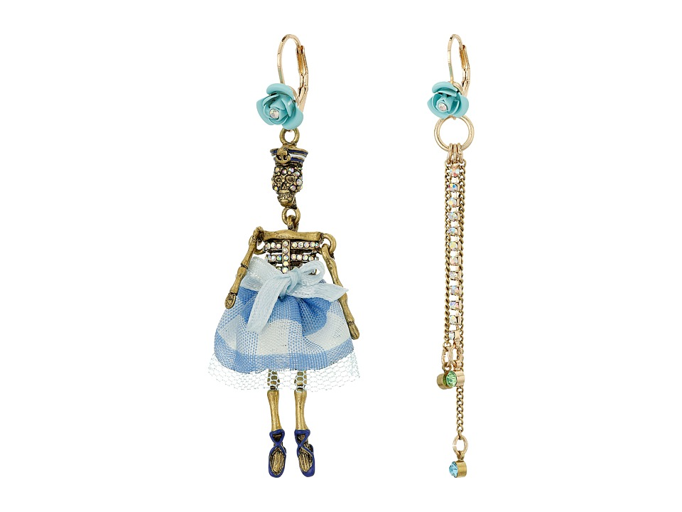 Betsey Johnson - Skulls and Roses Skeleton Non-Matching Earrings (Blue Multi) Earring
