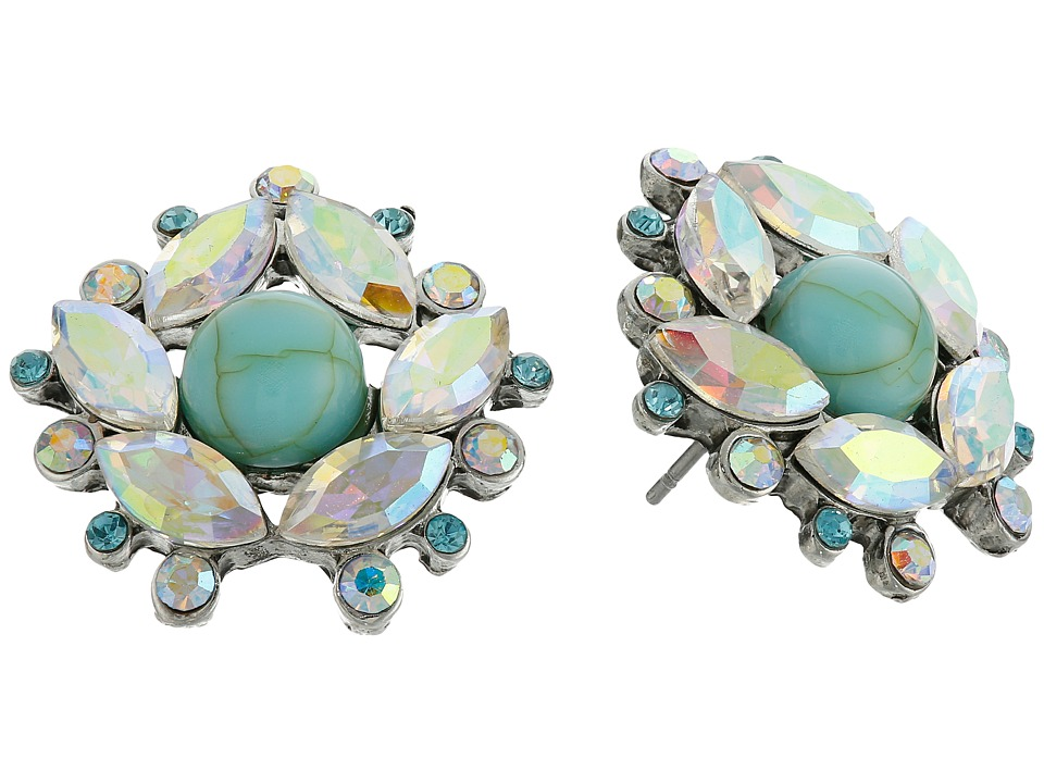 Betsey Johnson - Anchors Away Cystal Cluster Stud Earrings (Blue) Earring
