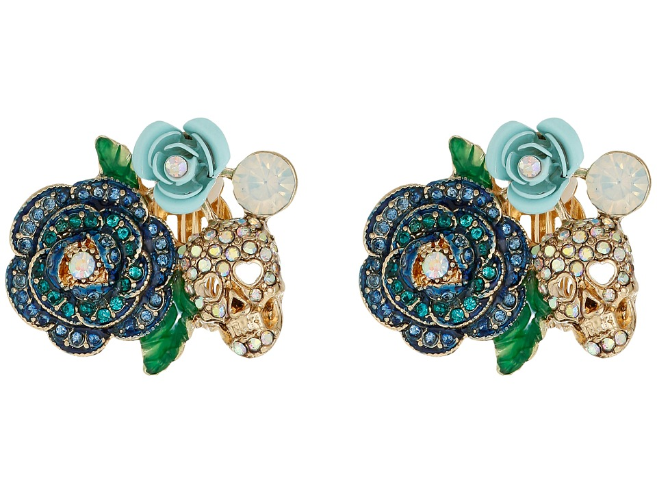 Betsey Johnson - Skulls and Roses Flower Clip On Earrings (Blue Multi) Earring
