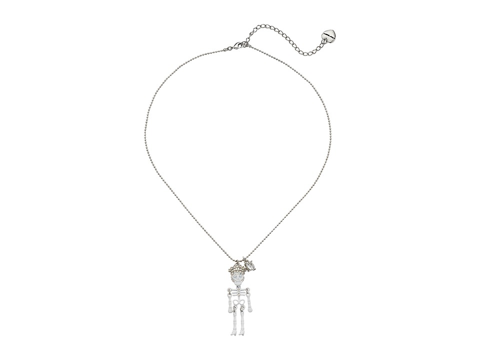 Betsey Johnson - Betsey Mini's Skeleton Pendant Necklace (White) Necklace