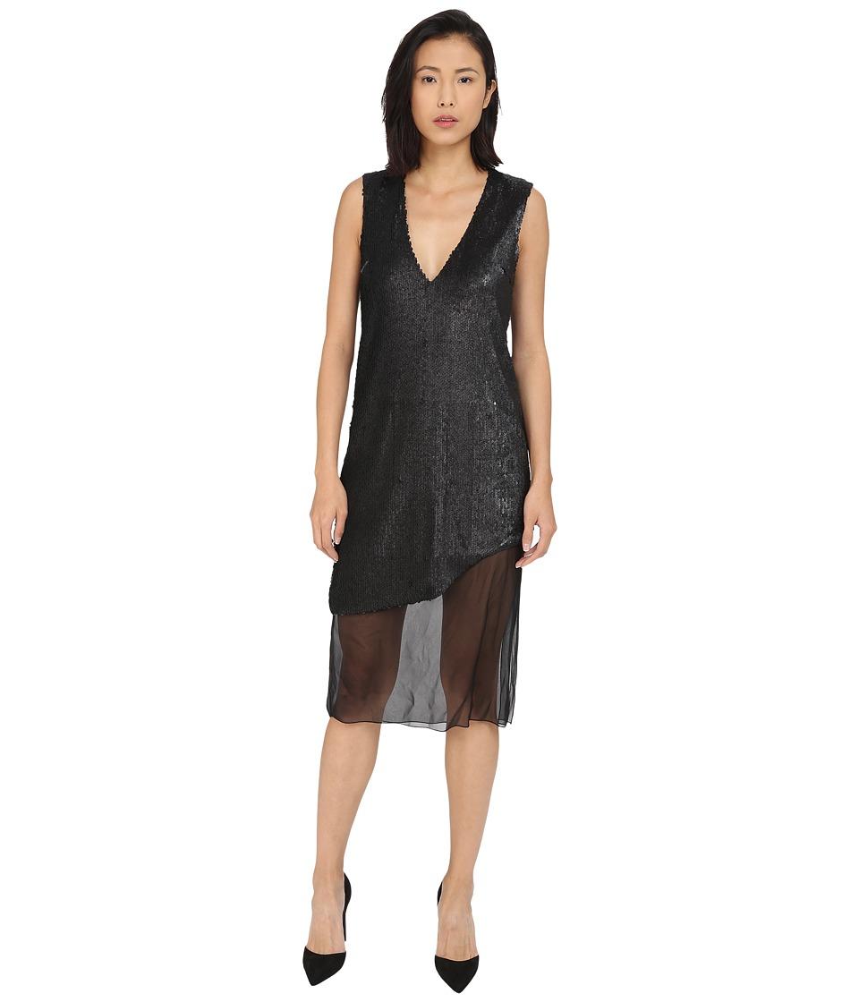 Prabal Gurung Dusted Pailette Sleeveless Dress w/ Sheer Overlay (Black) Women