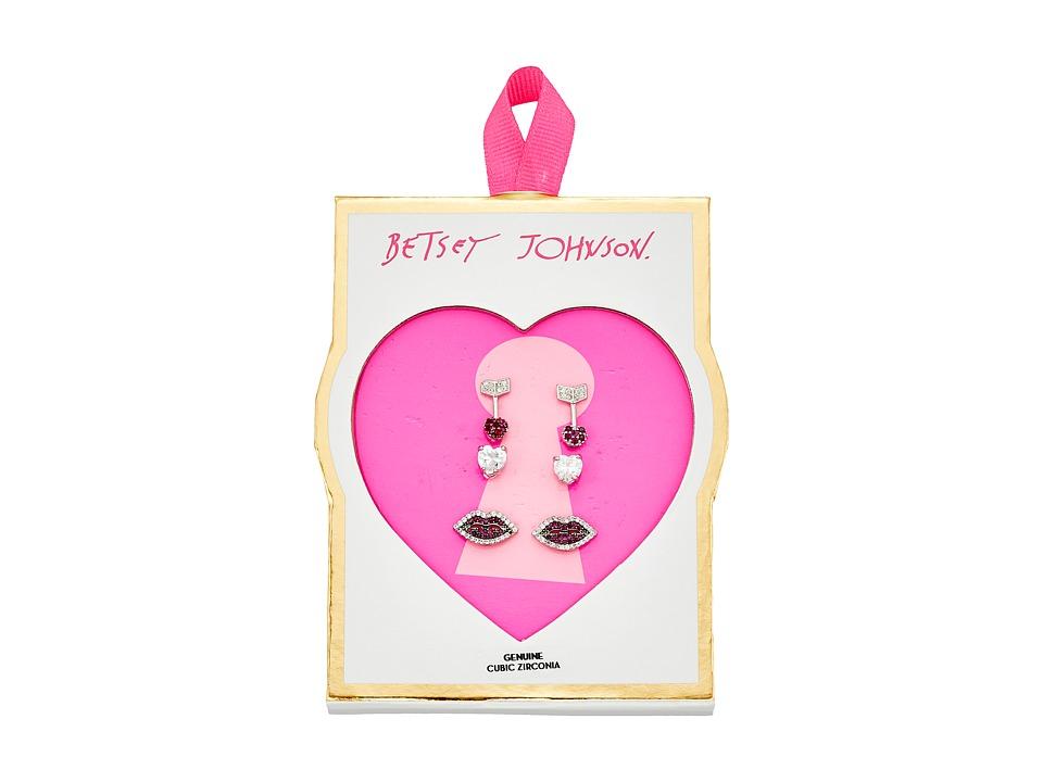 Betsey Johnson - CZ Heart Lip Arrow Stud Earrings Set (Crystal) Earring