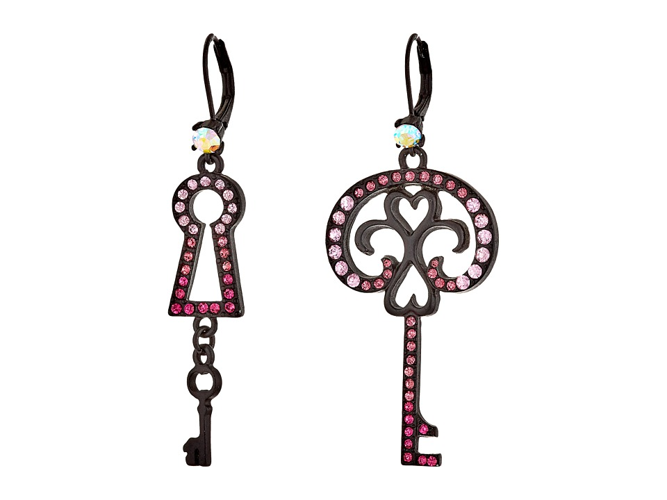 Betsey Johnson - Prisoner of Love Non-Matching Key Earrings (Pink) Earring