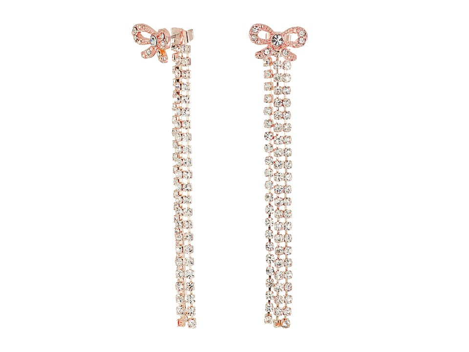 Betsey Johnson - Princess Charming Bow Front Back Linear Earrings (Crystal) Earring