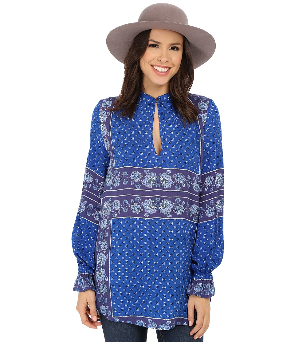 Free People - Rayon Dobby Changing Times Printed Tunic (True Blue Combo) Women's Blouse