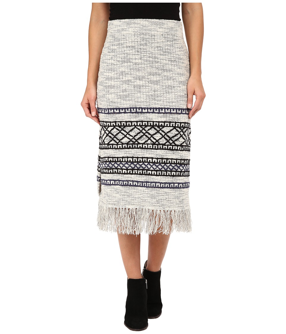 Free People - Fringe Sweater Skirt (Grey Combo) Women's Skirt