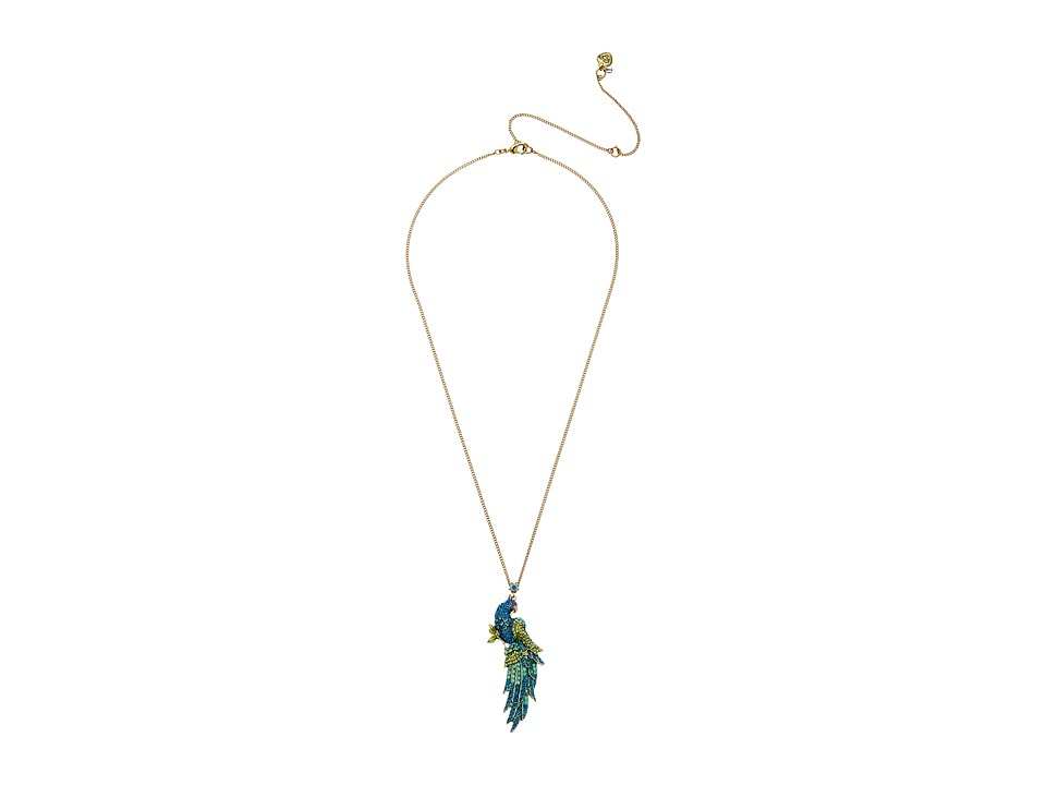Betsey Johnson - Critters Pave Bird Pendant Necklace (Blue/Green) Necklace