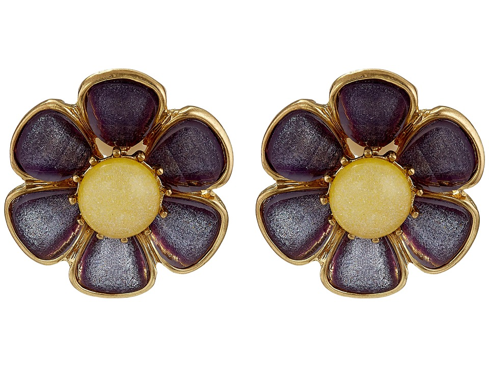 Betsey Johnson - Spring Ahead Flower Clip On Earrings (Purple) Earring