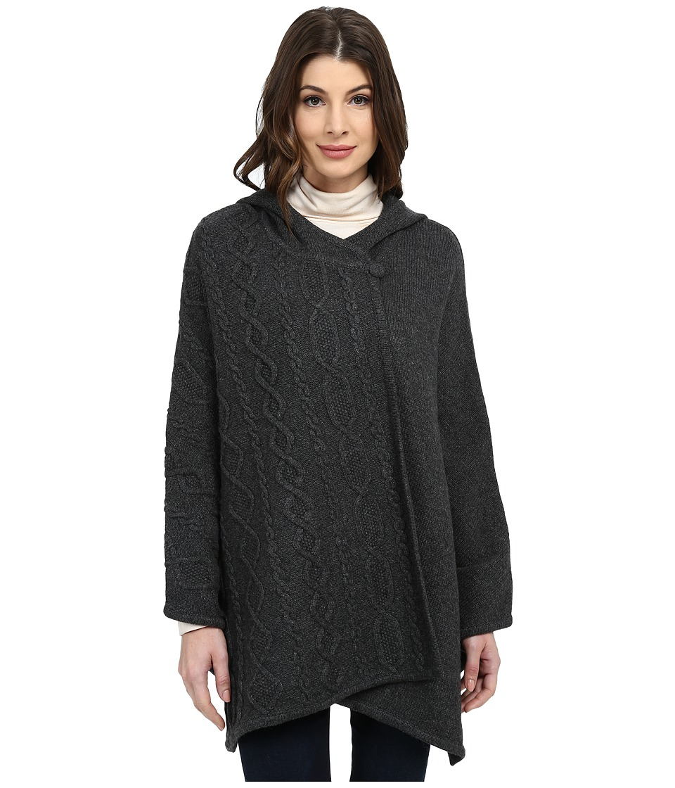 Pendleton - Cable Trim Cape (Charcoal Heather) Women's Clothing
