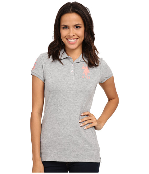U.S. POLO ASSN. - USPA Solid Polo (Heather Grey) Women's Short Sleeve Knit