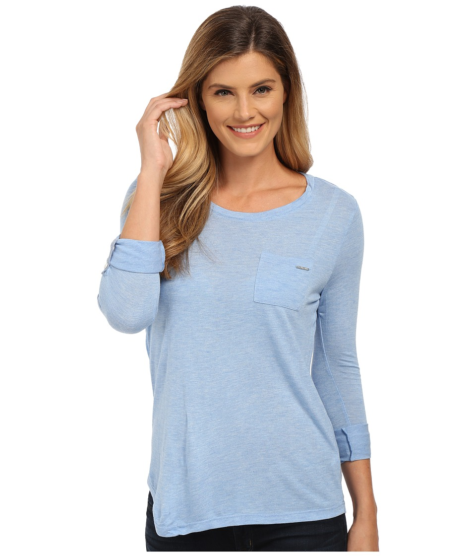 U.S. POLO ASSN. - Rayon Jersey Scoop Neck Pocket T-Shirt (Terry Blue) Women's T Shirt