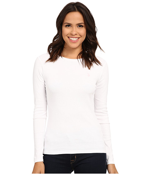 U.S. POLO ASSN. - Long Sleeve Crew Neck 1X1 Baby Rib T-Shirt (Optic White) Women's Long Sleeve Pullover
