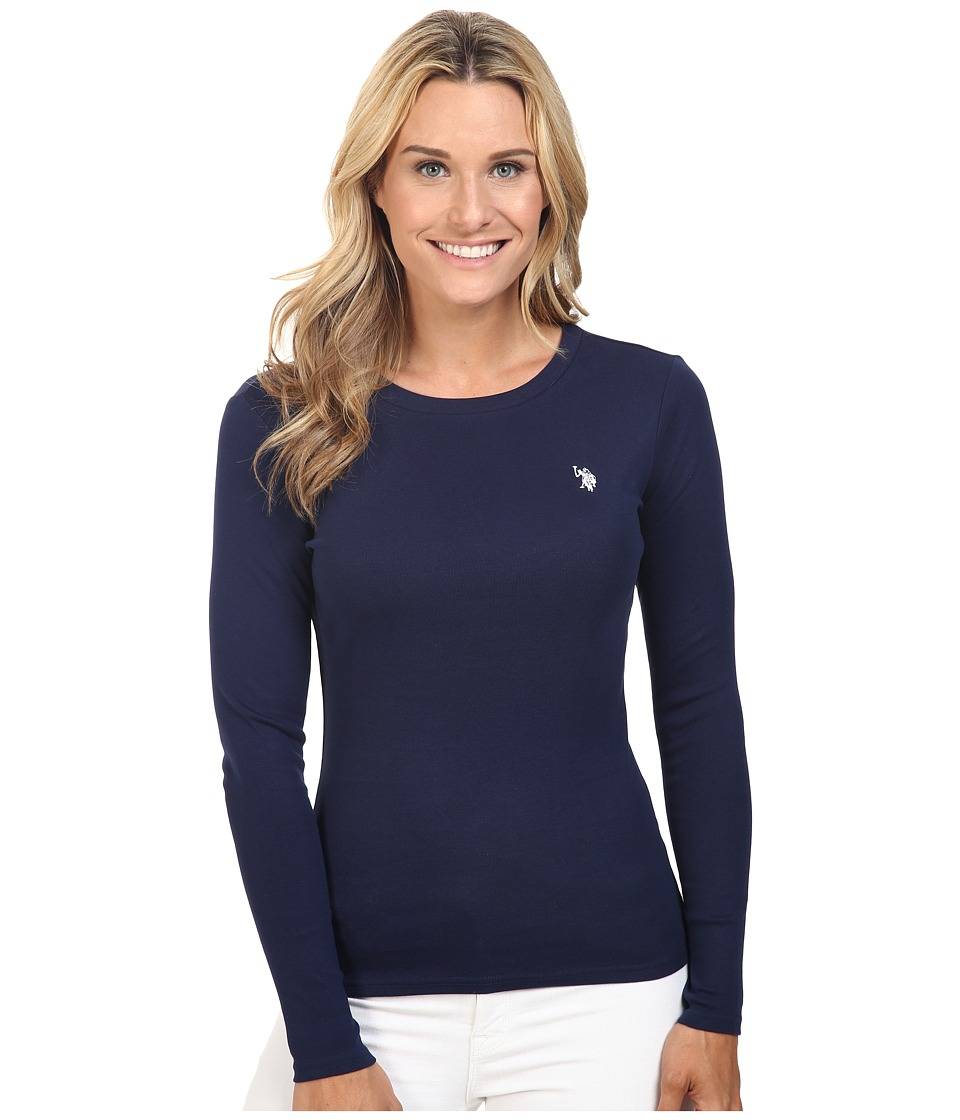 U.S. POLO ASSN. - Long Sleeve Crew Neck 1X1 Baby Rib T-Shirt (Tribal Navy) Women's Long Sleeve Pullover