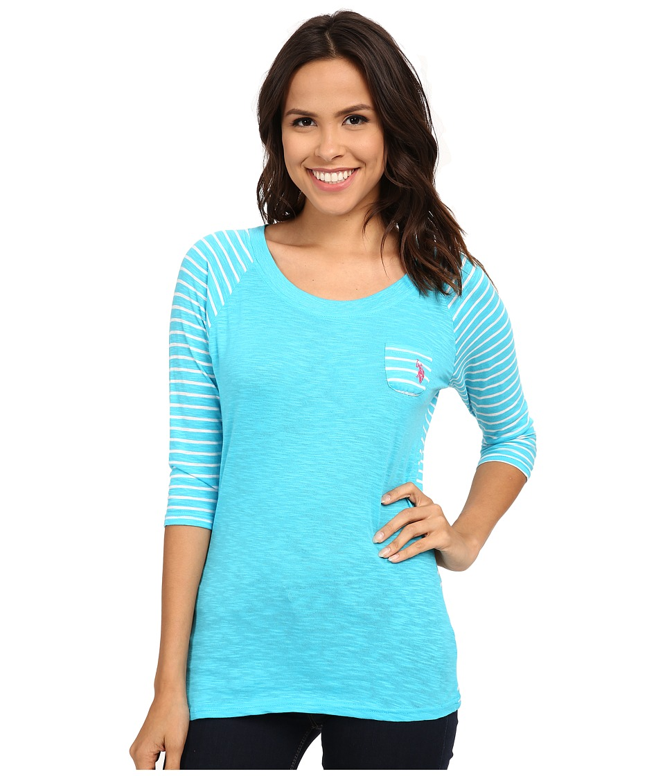U.S. POLO ASSN. - 3/4 Sleeve Cotton Slub T-Shirt (Turquoise Energy) Women