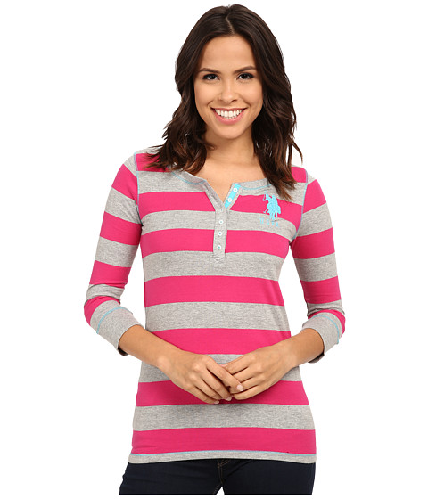 U.S. POLO ASSN. - 3/4 Sleeve Striped Cotton Jersey T-Shirt (Pink Peak) Women