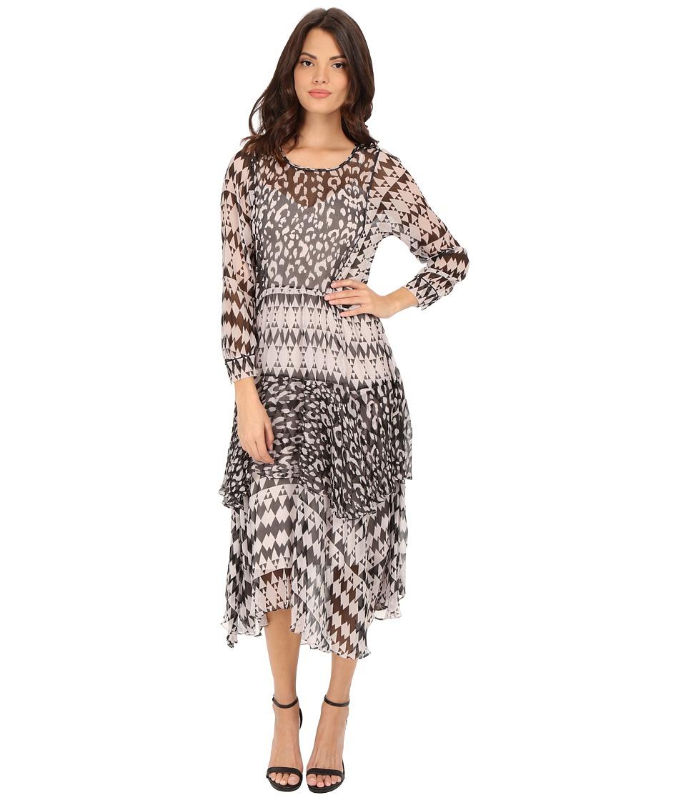 Rebecca Taylor Border Leopard Print Dress (Black/Polar) Women