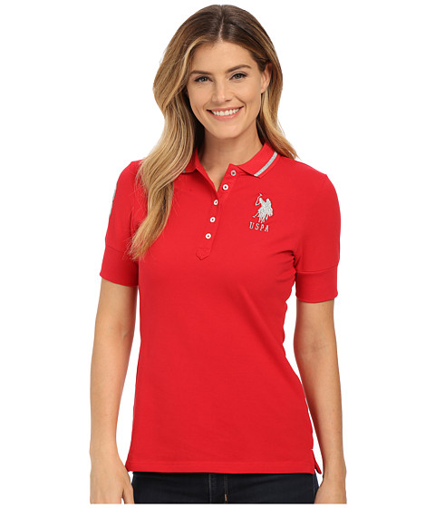 U.S. POLO ASSN. - Silver Lurex and Sparkle Button Polo Shirt (Lipstick Red) Women