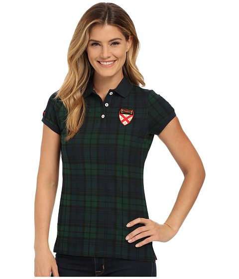 U.S. POLO ASSN. - Stretch Cotton Pique Plaid Polo Shirt (Eclipse) Women's Clothing
