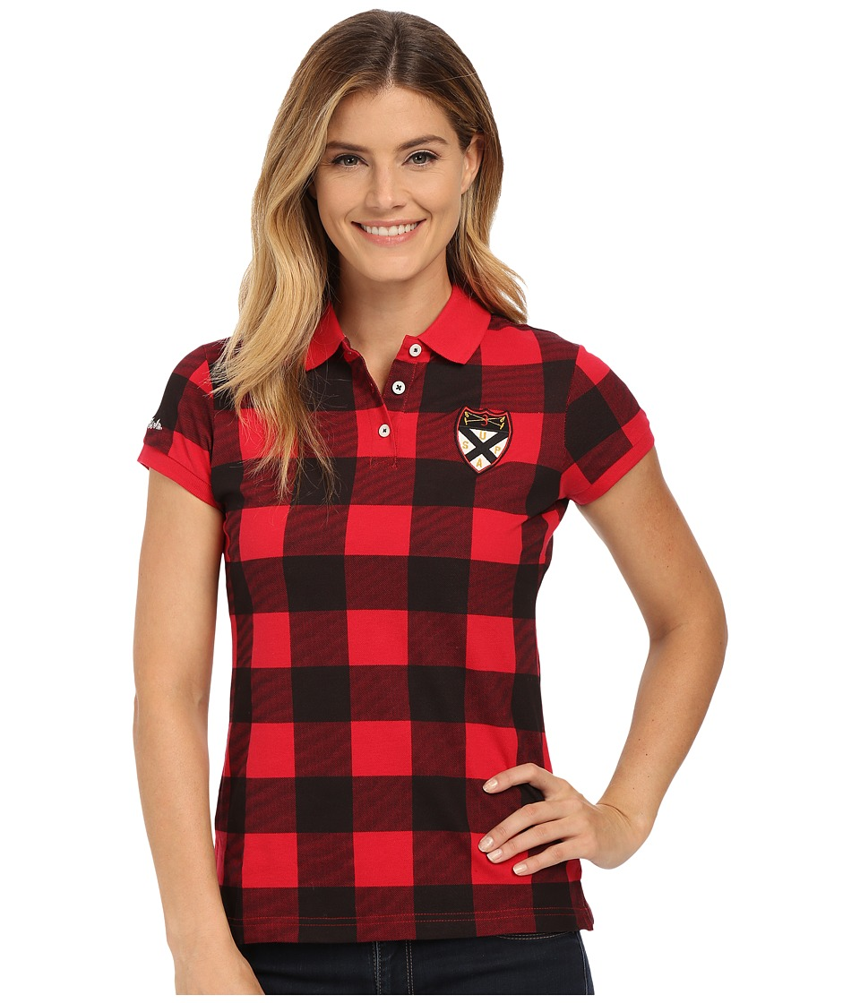 U.S. POLO ASSN. - Bufflalo Plaid Check Stretch Pique Polo Shirt (Lipstick Red) Women's Clothing