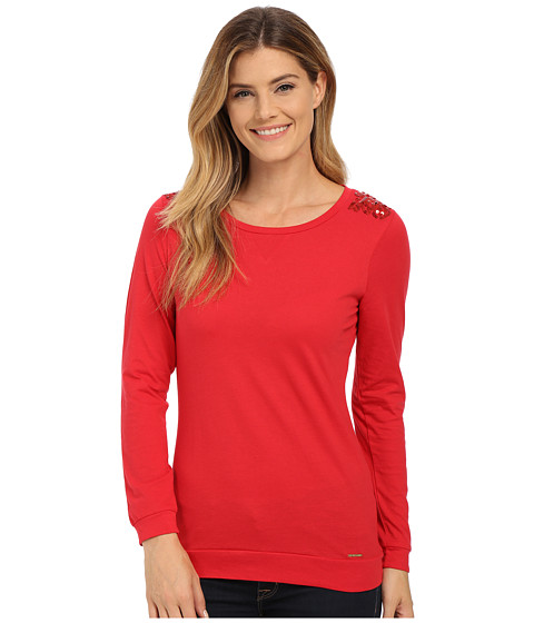 U.S. POLO ASSN. - Sequin Yoke T-Shirt (Lipstick Red) Women's T Shirt