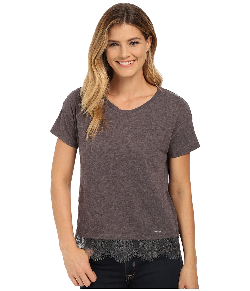 U.S. POLO ASSN. - Lace Hem Crew Neck M lange T-Shirt (Heather Dark Gray) Women's T Shirt
