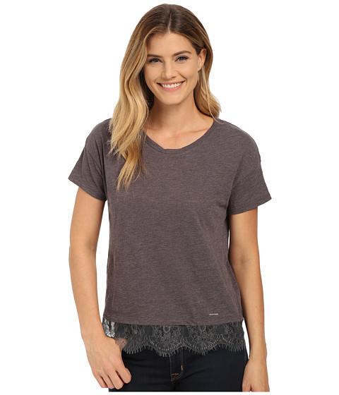 U.S. POLO ASSN. - Lace Hem Crew Neck M lange T-Shirt (Heather Dark Gray) Women