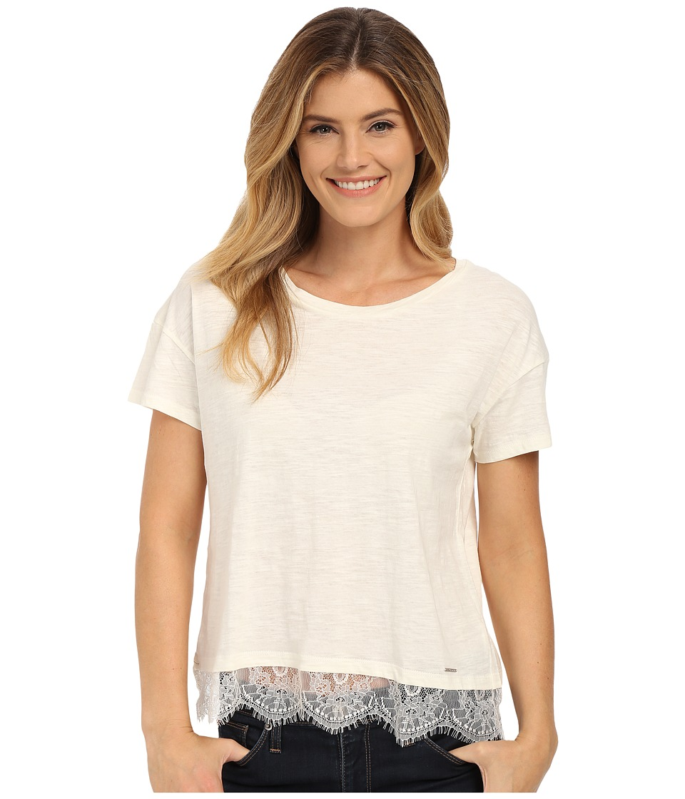 U.S. POLO ASSN. - Lace Hem Crew Neck M lange T-Shirt (Egret) Women's T Shirt