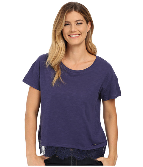 U.S. POLO ASSN. - Lace Hem Crew Neck M lange T-Shirt (Patriot Blue) Women's T Shirt