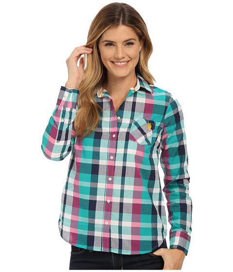 U.S. POLO ASSN. - Plaid Woven Shirt (Dynasty Green) Women's Clothing