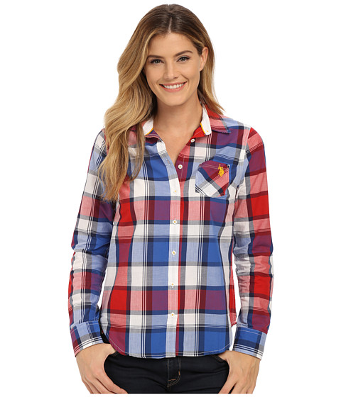 U.S. POLO ASSN. - Plaid Poplin Single Pocket Woven Shirt (Seeing Red) Women