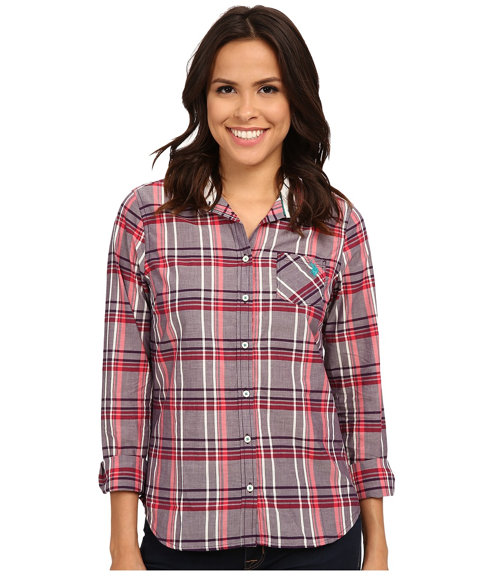 U.S. POLO ASSN. - Plaid Poplin Casual Shirt (Blackberry Cordial) Women's Clothing