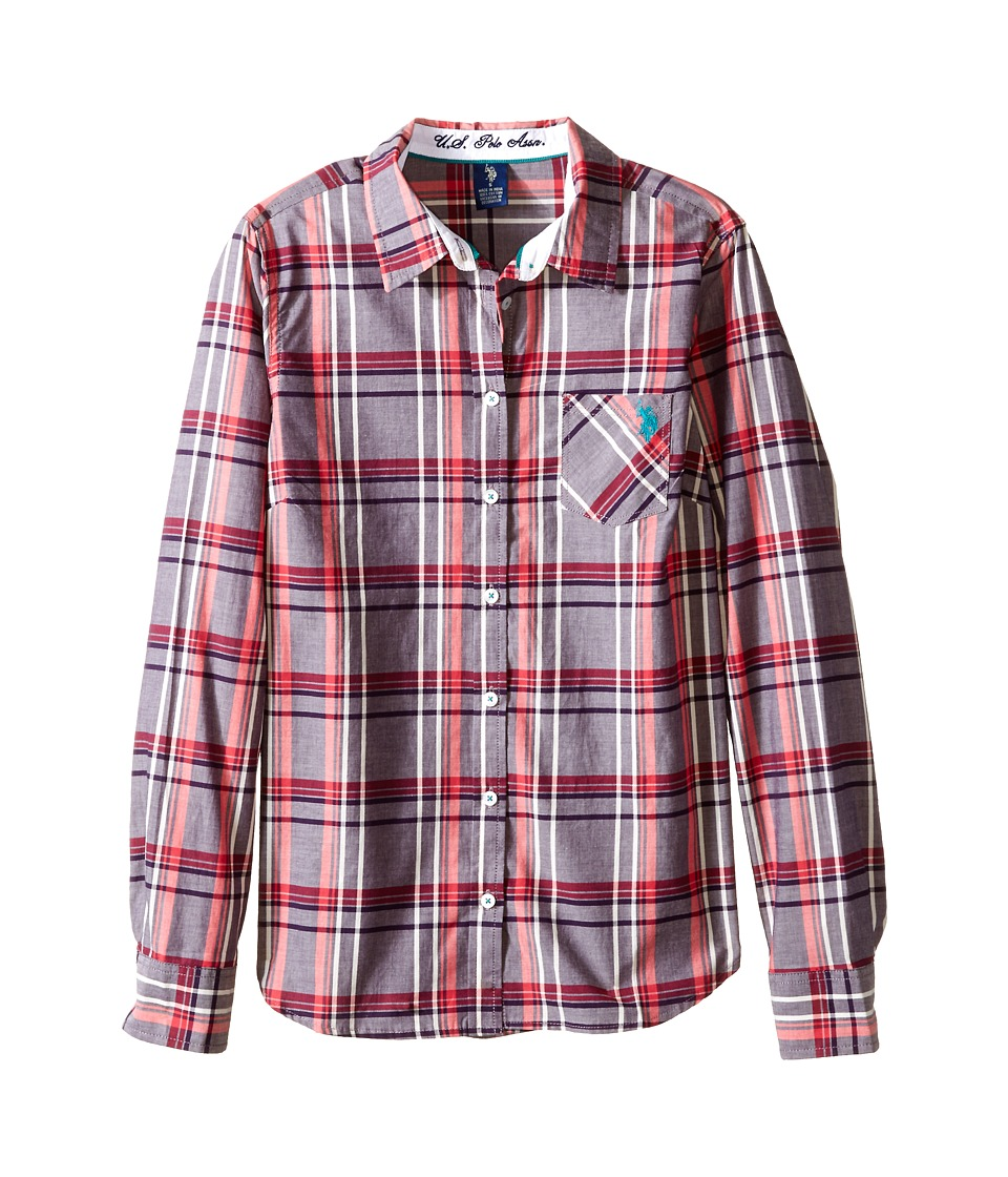 U.S. POLO ASSN. - Plaid Poplin Casual Shirt (Pink/Grey) Women