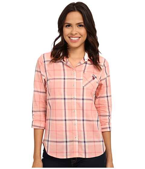 U.S. POLO ASSN. - Plaid Poplin Shirt (Candlelight Peach) Women