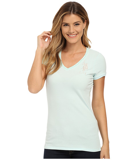 U.S. POLO ASSN. - Lace Trimmed V-Neck Short Sleeve T-Shirt (Fair Aqua) Women's T Shirt