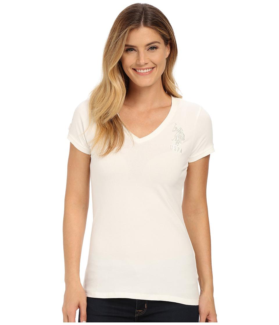 U.S. POLO ASSN. - Lace Trimmed V-Neck Short Sleeve T-Shirt (Marshmallow) Women's T Shirt