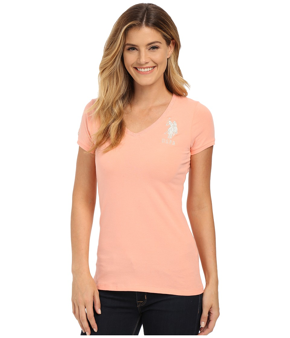 U.S. POLO ASSN. - Lace Trimmed V-Neck Short Sleeve T-Shirt (Candlelight Peach) Women's T Shirt
