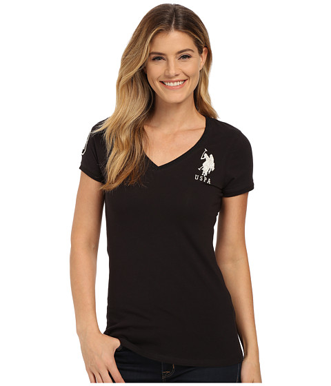 U.S. POLO ASSN. - Lace Trimmed V-Neck Short Sleeve T-Shirt (Anthracite) Women