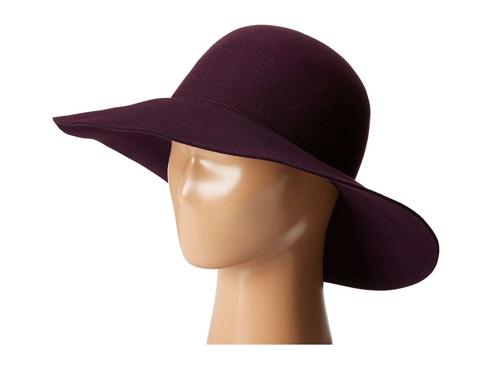 Karen Kane - Raw Edge Wide Brim Floppy (Plum) Caps