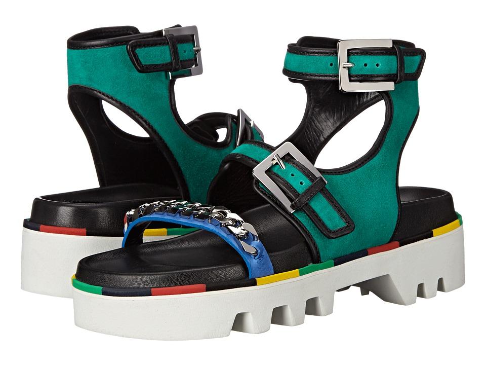 DSQUARED2 Flat Sandal Verde Nero Camoscio Nappa Vacchetta Womens Sandals