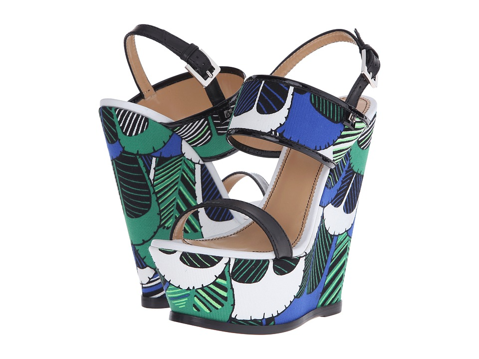 DSQUARED2 Wedge (Verde Blue Cotone Stampa Piume) Women