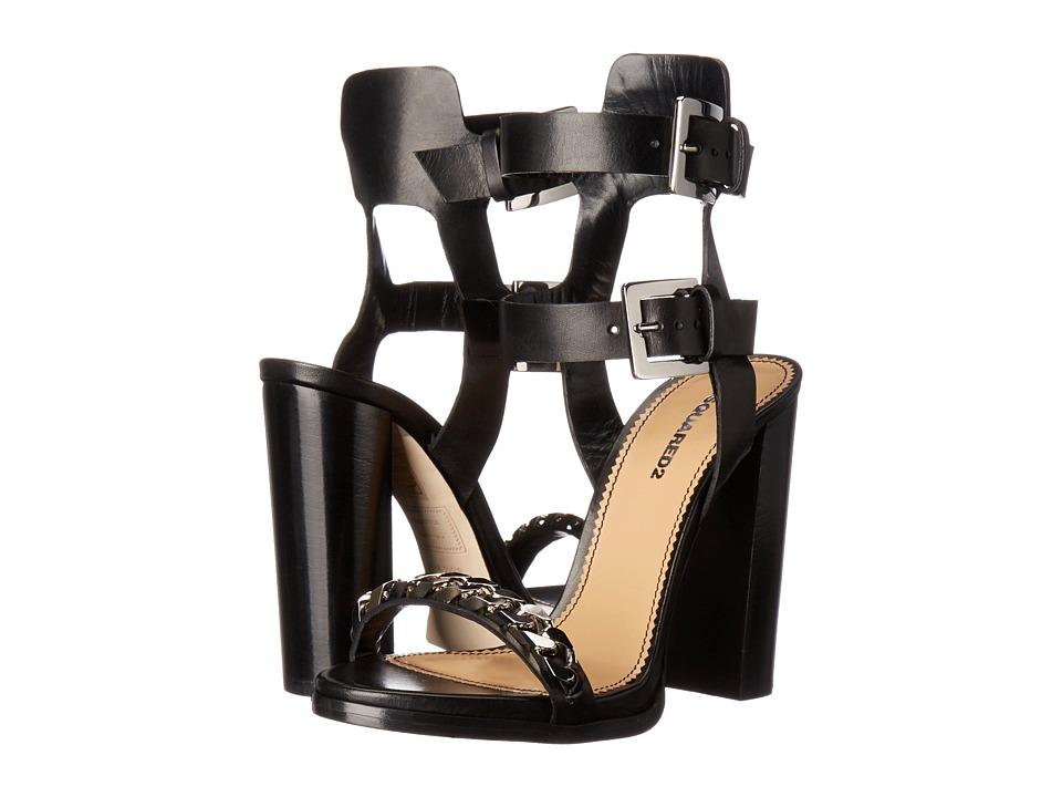 DSQUARED2 Sandal Nero Vacchetta Veg High Heels